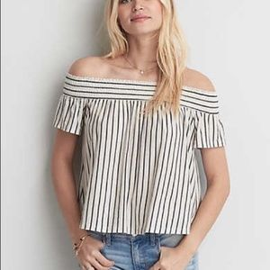 American Eagle Striped Off-the-Shoulder Top